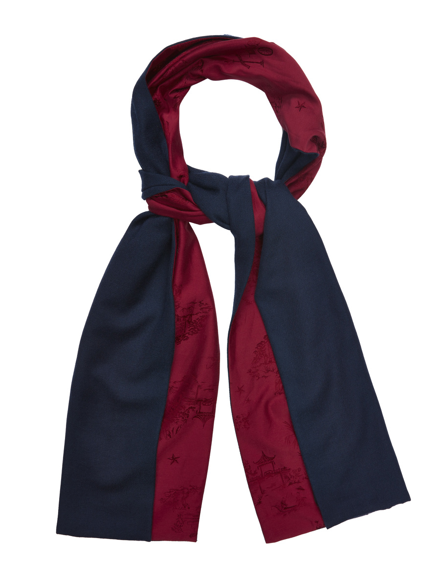 Chinoiserie Jacquard and Cashmere Twill Double-sided Scarf