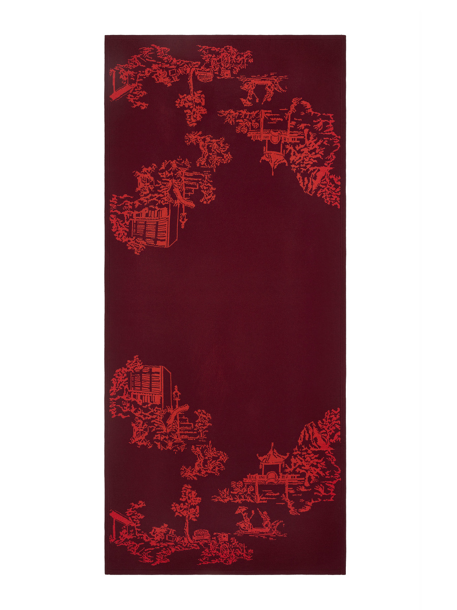 Chinoiserie Intarsia Wool Wrap Scarf