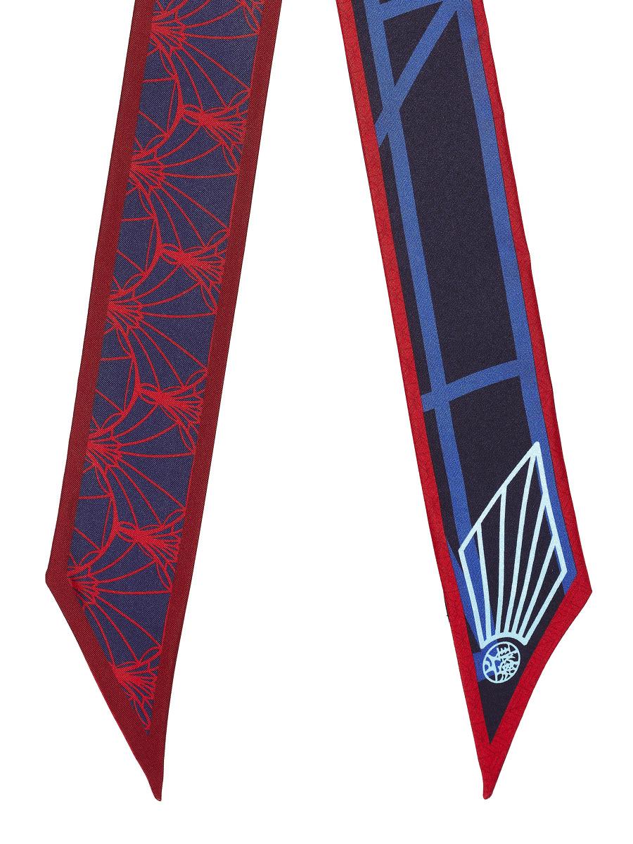 Peacock Art Deco Print Silk Bandeau Scarf