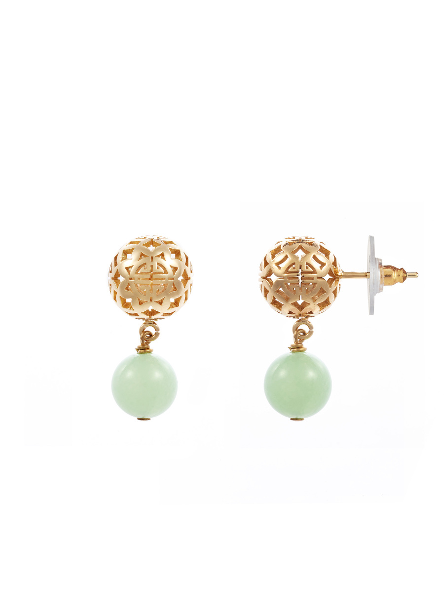 Shou Sphere Gemstone Drop Earrings