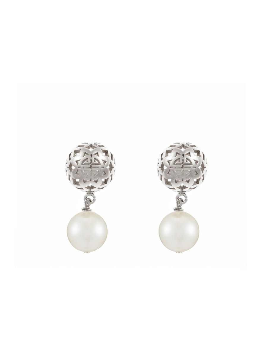 Shou Sphere Glass Pearl Drop Earrings