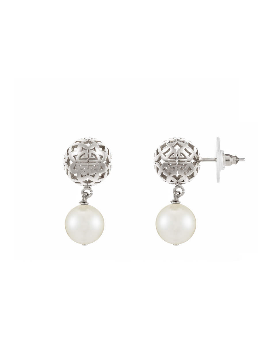 Shou Sphere Glass Pearl Drop Earrings
