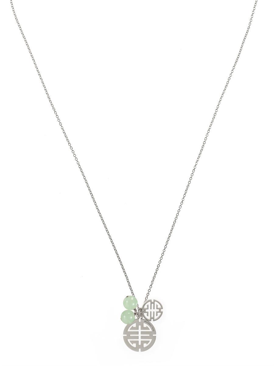 Double Shou and Gemstone Pendant Necklace