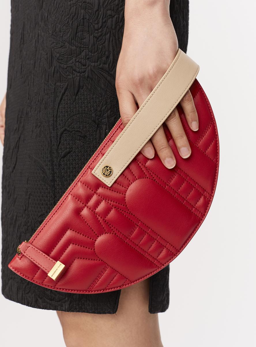 Half Moon Leather Wristlet Clutch