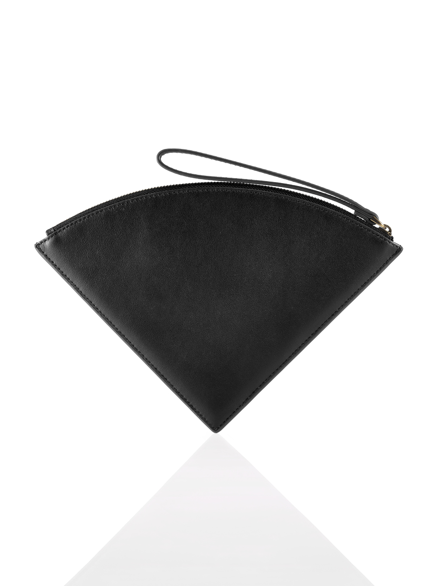 Half Moon Leather Quarter Clutch