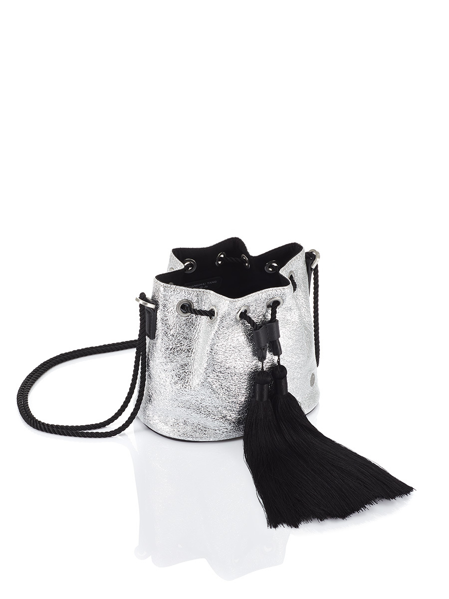 Silver Jubilee Metallic Leather Bucket Bag with Tassels