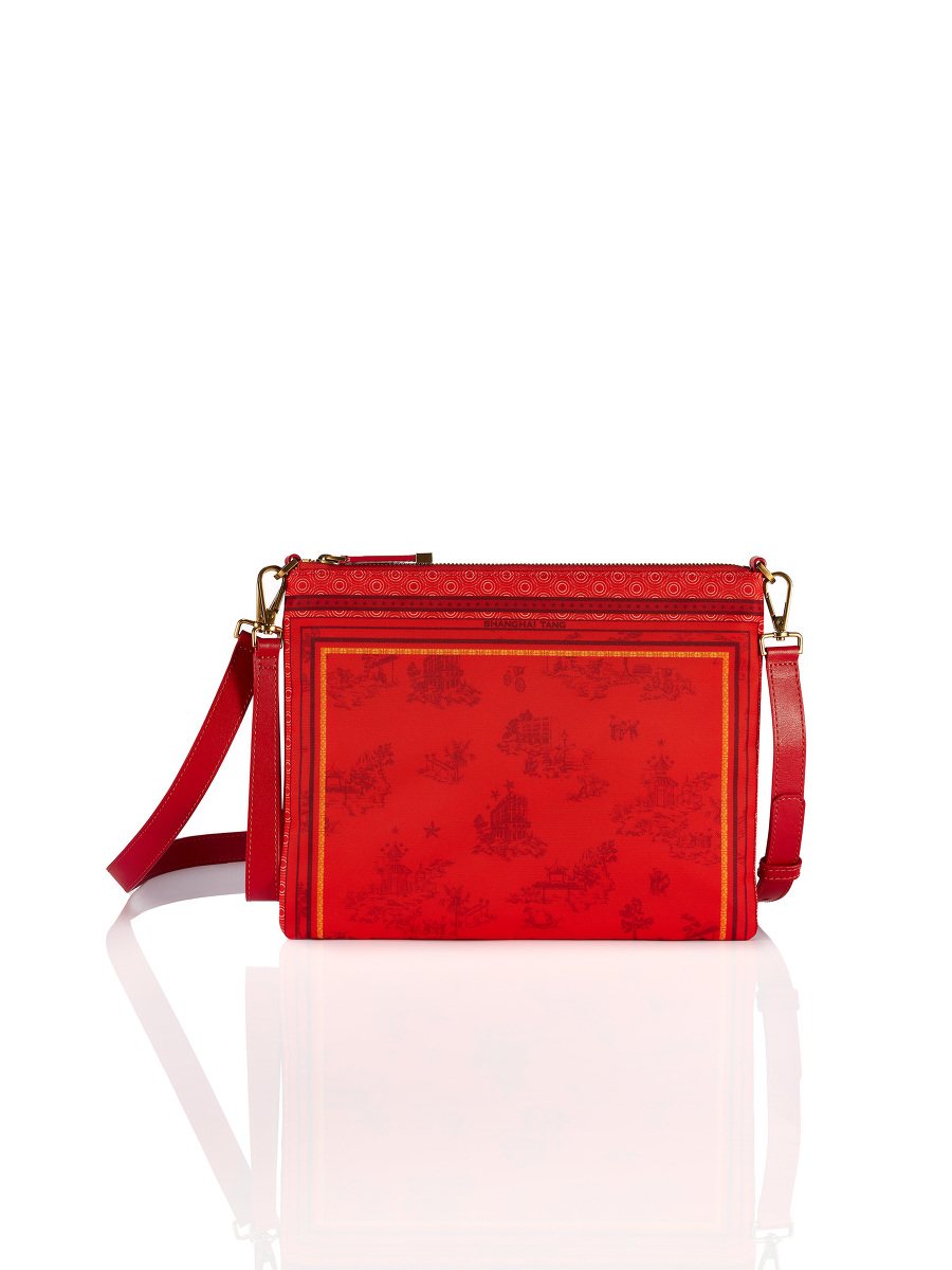 Chinoiserie Print 2-way Crossbody Clutch