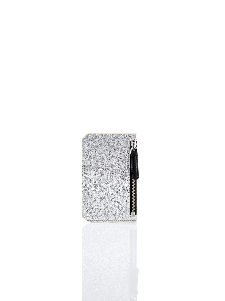Silver Jubilee Metallic Leather Card Holder with Zip