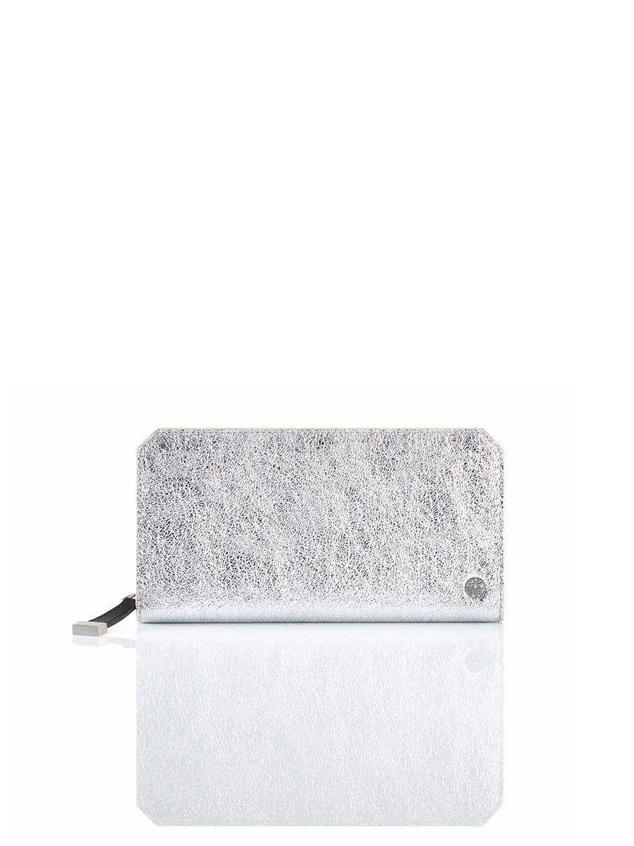 Silver Jubilee Metallic Leather Ziparound Wallet
