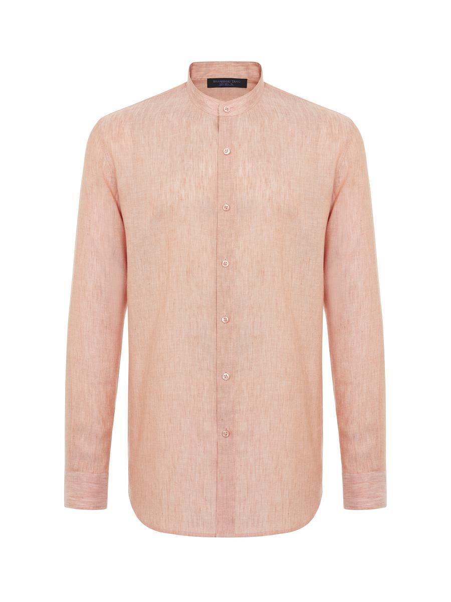 Knot Button Band Collar Linen-tencel Shirt
