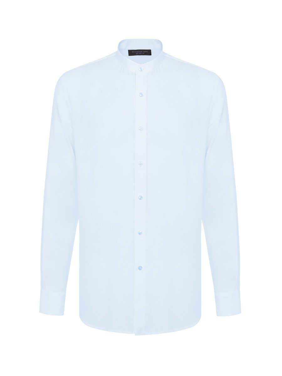 Knot Button Band Collar Linen-tencel Shirt