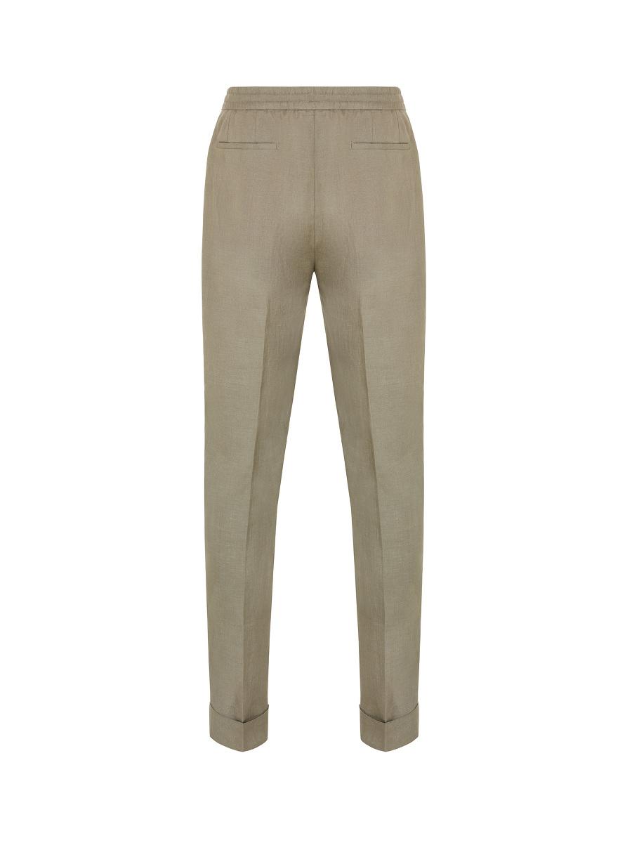 Drawstring Elastic Waist Linen Trousers