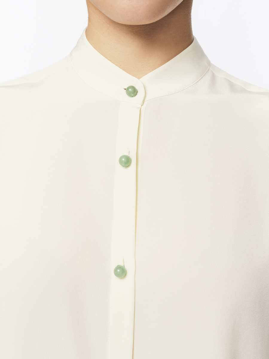 Jewel Button Silk Boxy Blouse