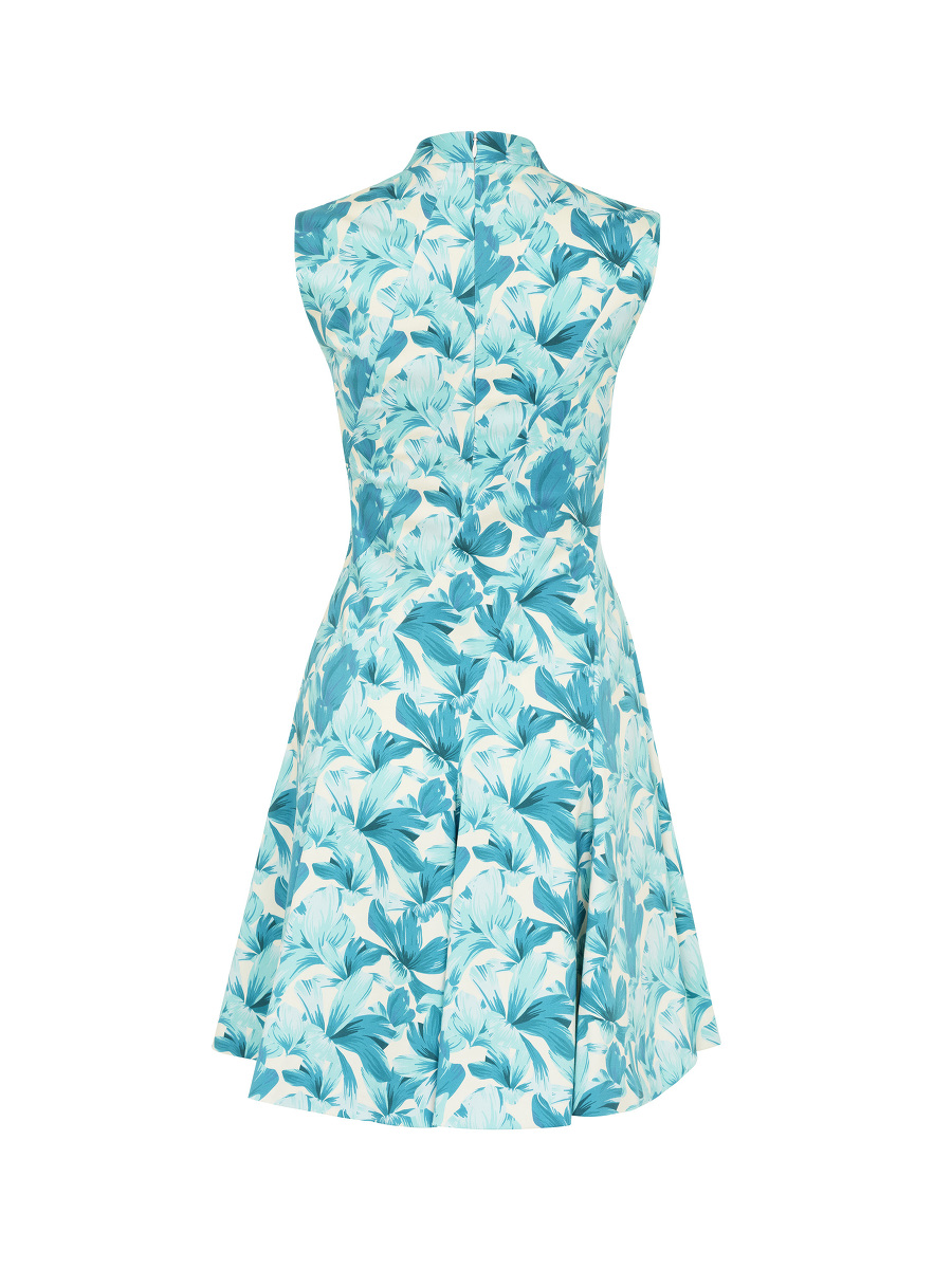 Orchid Print Flared Dress