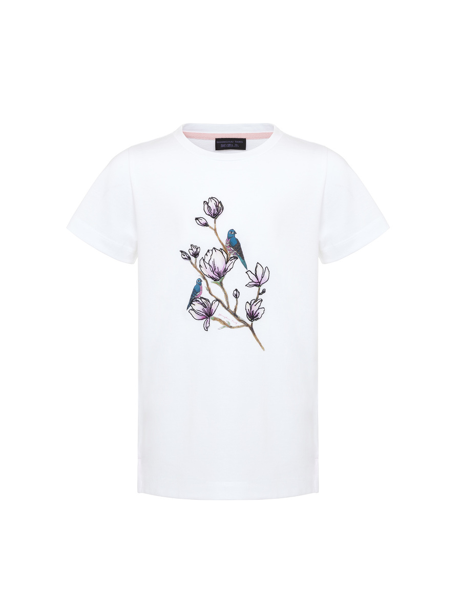 Magnolia Print and Embroidery Kids T-shirt