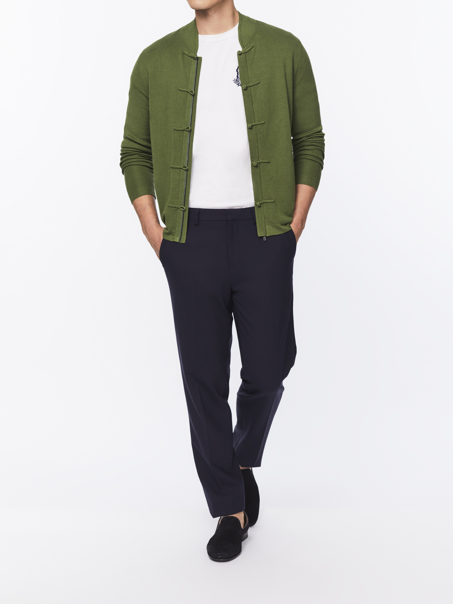 Silk-cotton Zip Cardigan with Frog Buttons