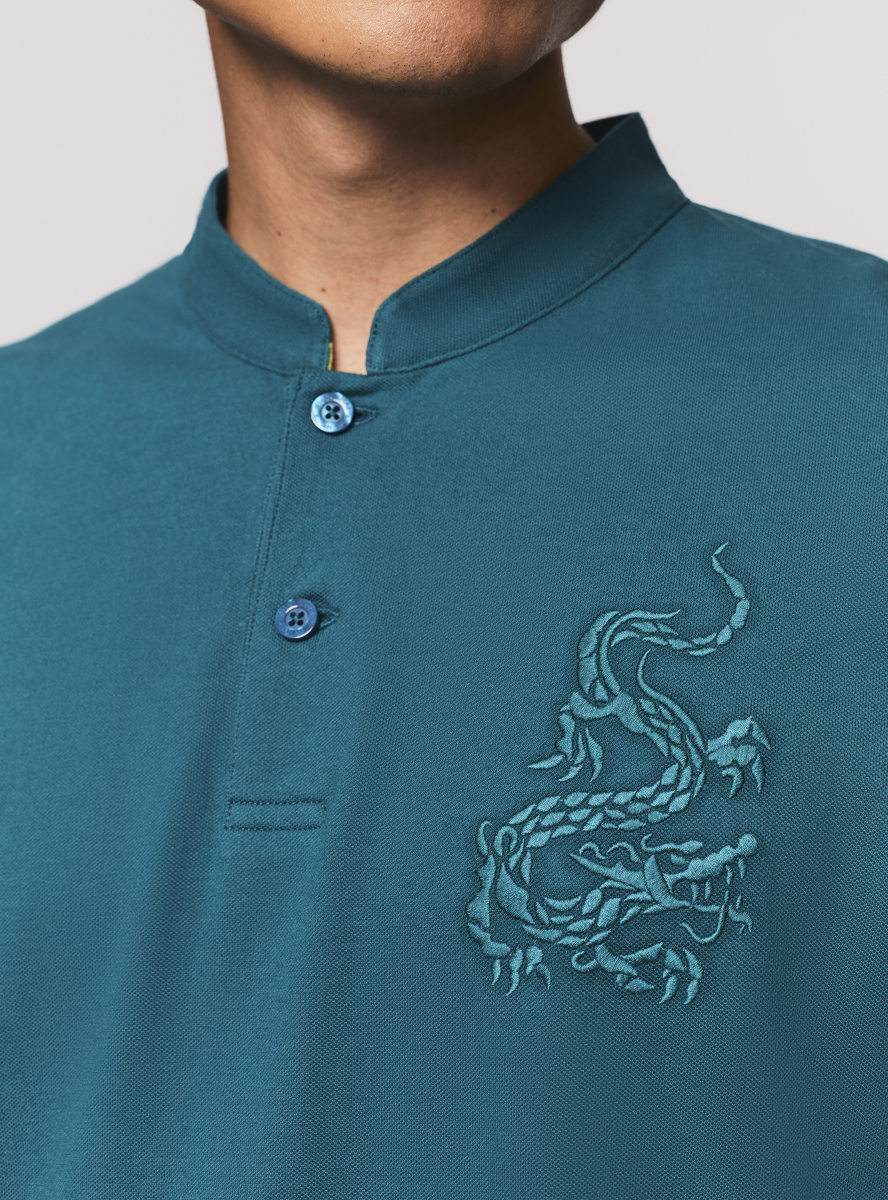 Dragon Embroidery Long Sleeve Polo Shirt