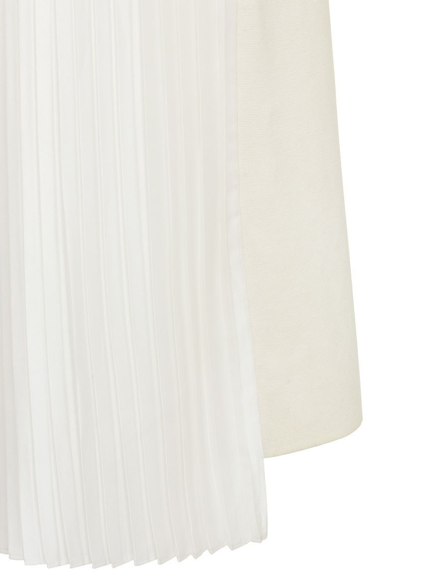 Pleated Satin Back Milano Knit Dress