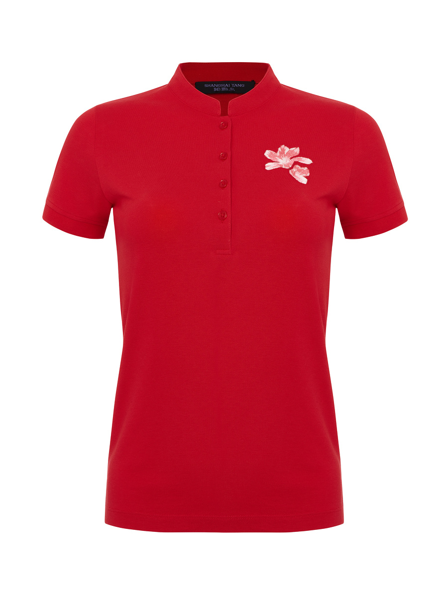 Magnolia Embroidery Polo Shirt