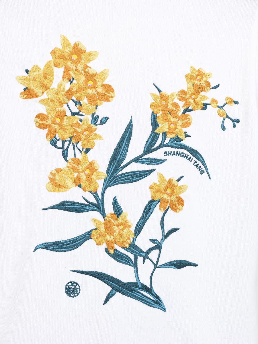 Orchid Embroidery Polo Shirt