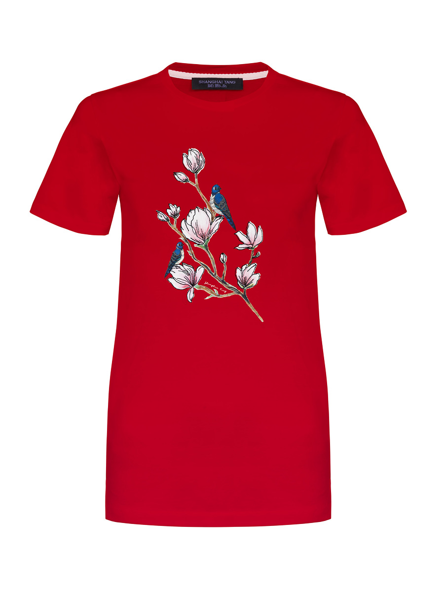 Magnolia Print and Embroidery T-shirt