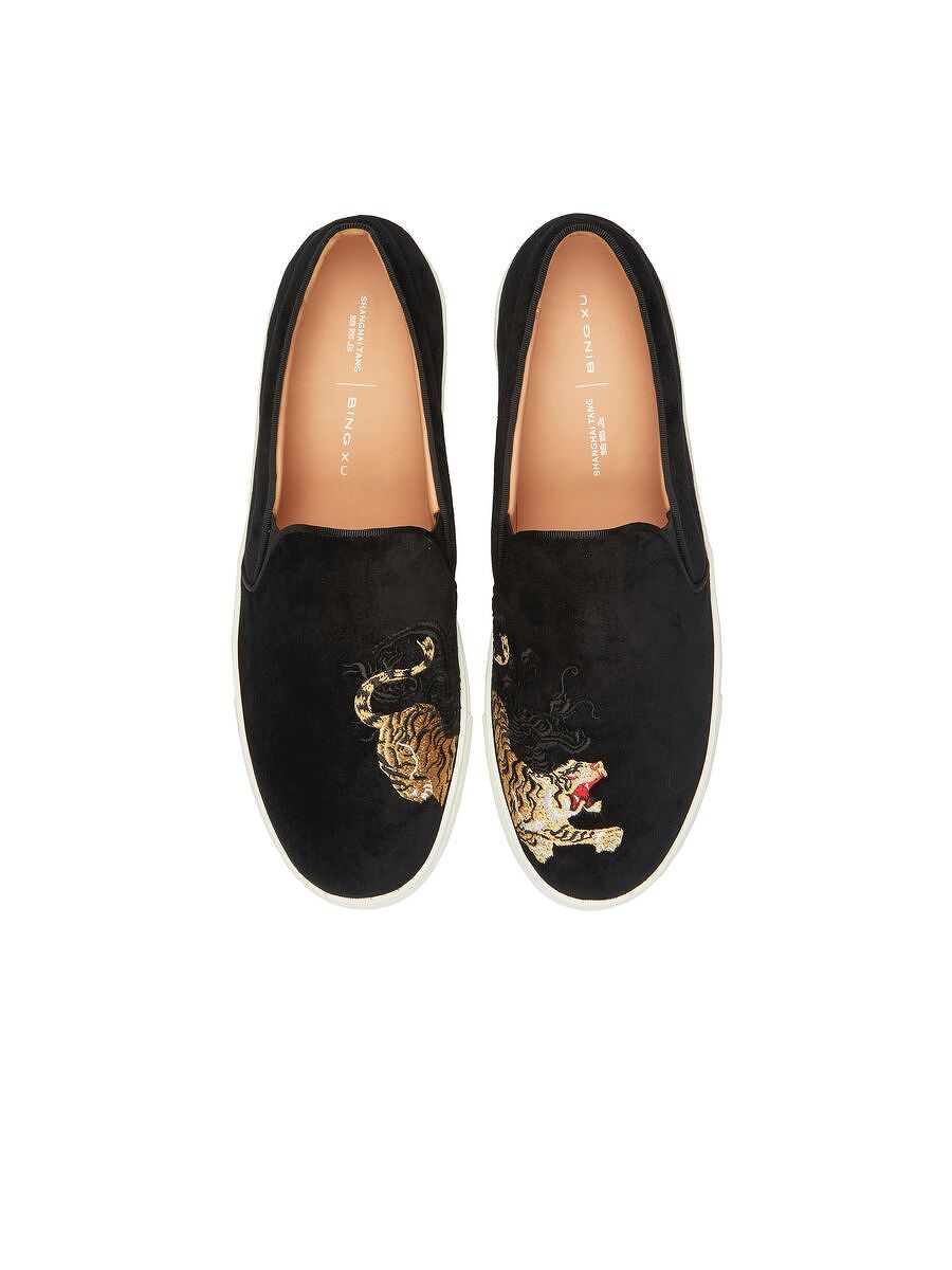 Bing Xu for Shanghai Tang 'Crouching Tiger, Hidden Dragon' Embroidered Velvet Slip-ons