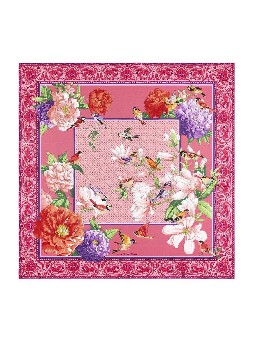 Magnolia Peony and Bird Print Silk Foulard 90