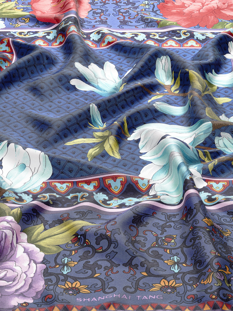 Magnolia and Peony Frame Print Silk Foulard 70