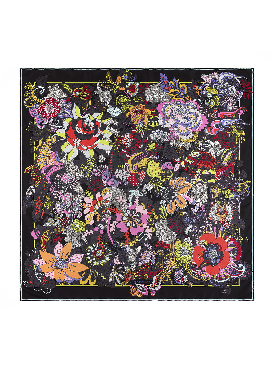 'Hide & Seek' Chinese Zodiac Print Silk Scarf 90