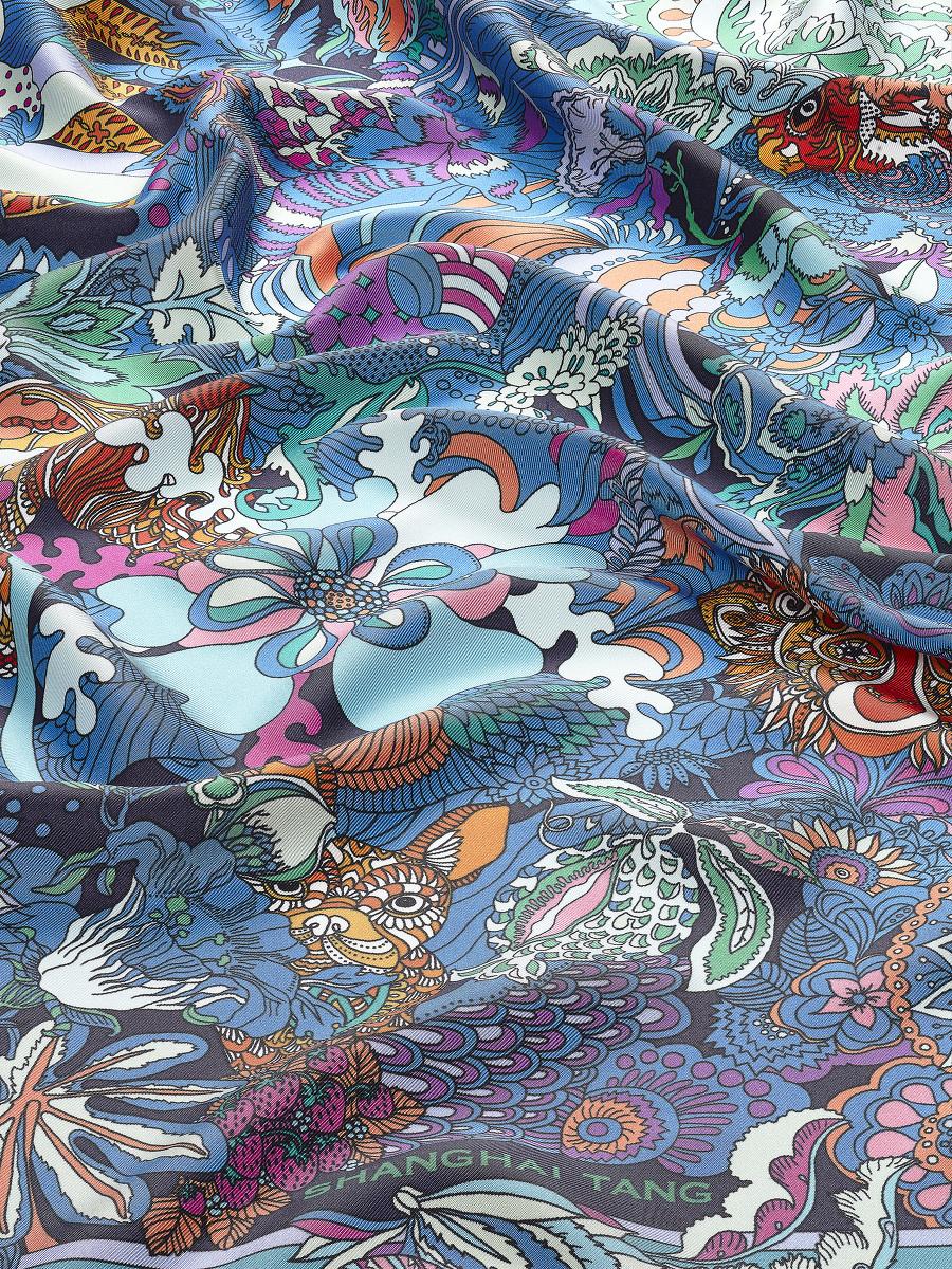 Chinese Zodiac Print Silk Foulard 90