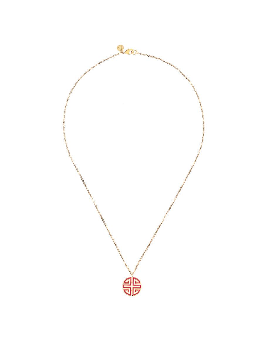 Enamel Shou Pendant Necklace