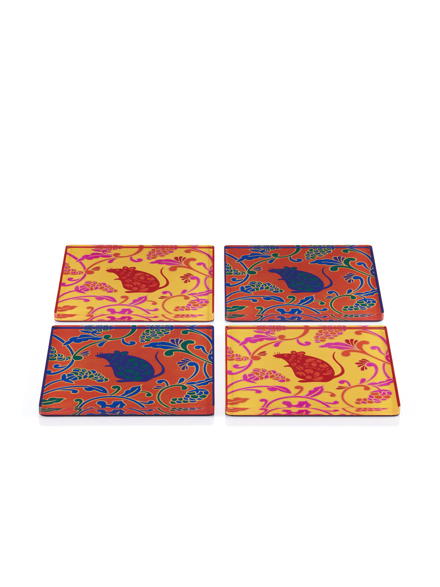 Rat and Grapes Acrylic Coaster Set of 4
