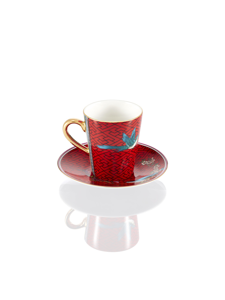 Chinese Garden Bird and Lattice Fine Bone China  Espresso Cup and Saucer Set