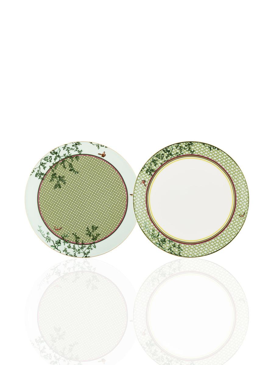Forbidden Garden Bamboo Lattice Fine Bone China Dessert Plate Set of 2
