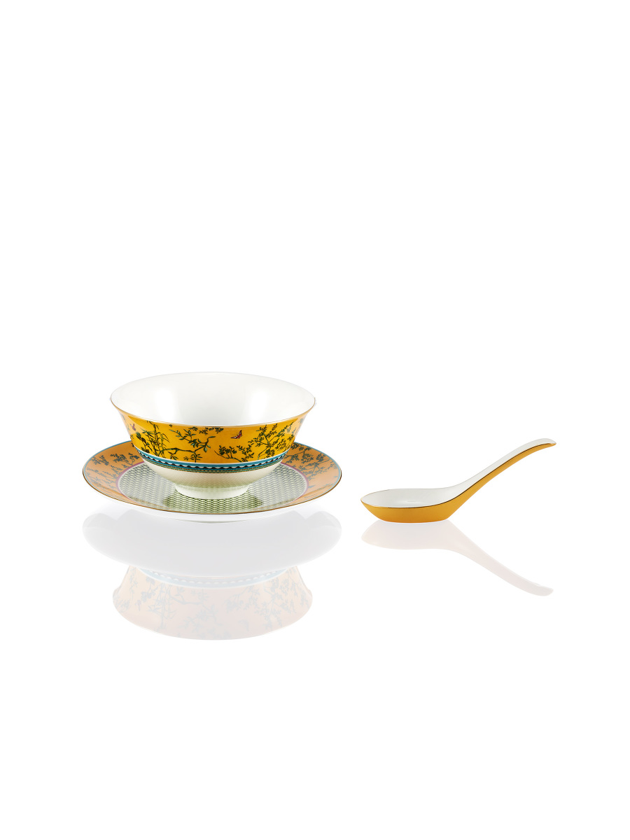 Forbidden Garden Fine Bone China Bowl and Spoon Set