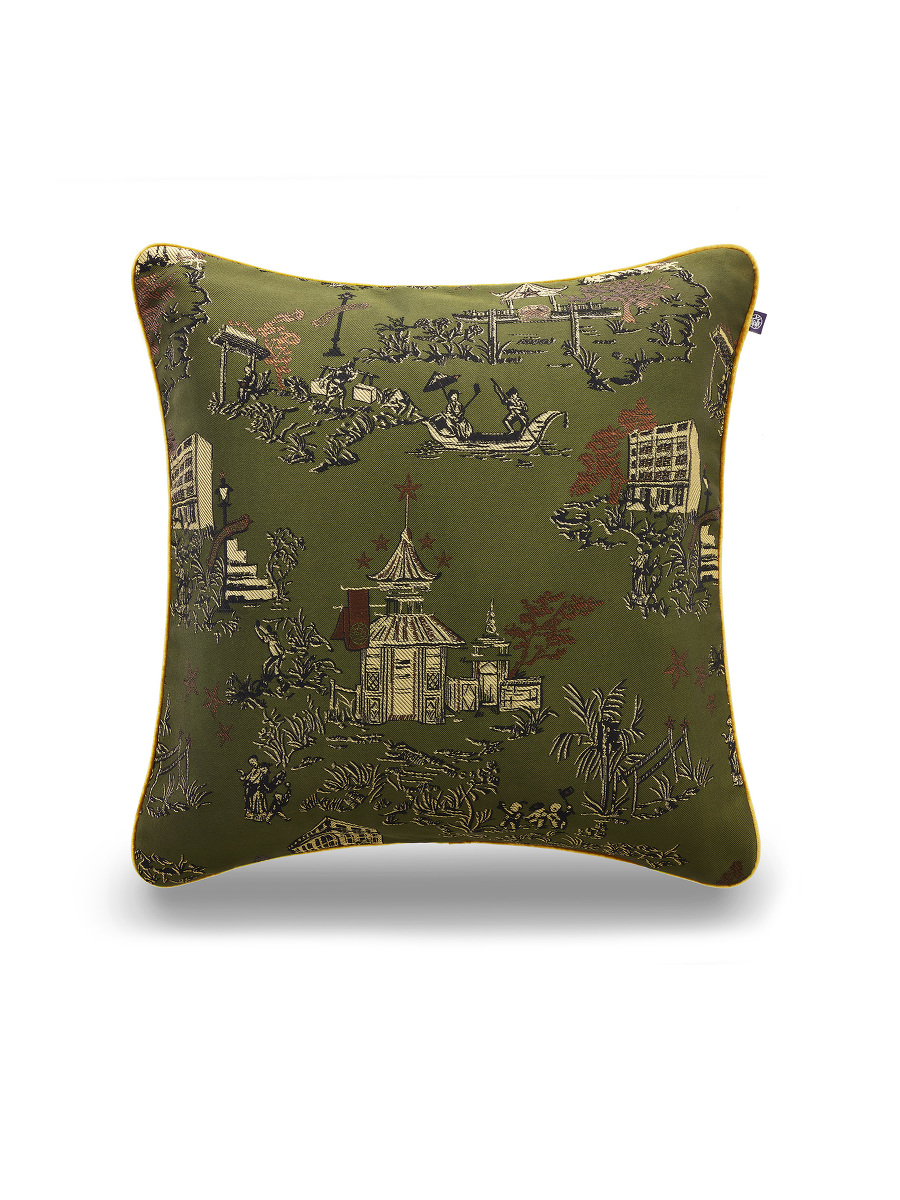 Chinoiserie Jacquard and Velvet Cushion