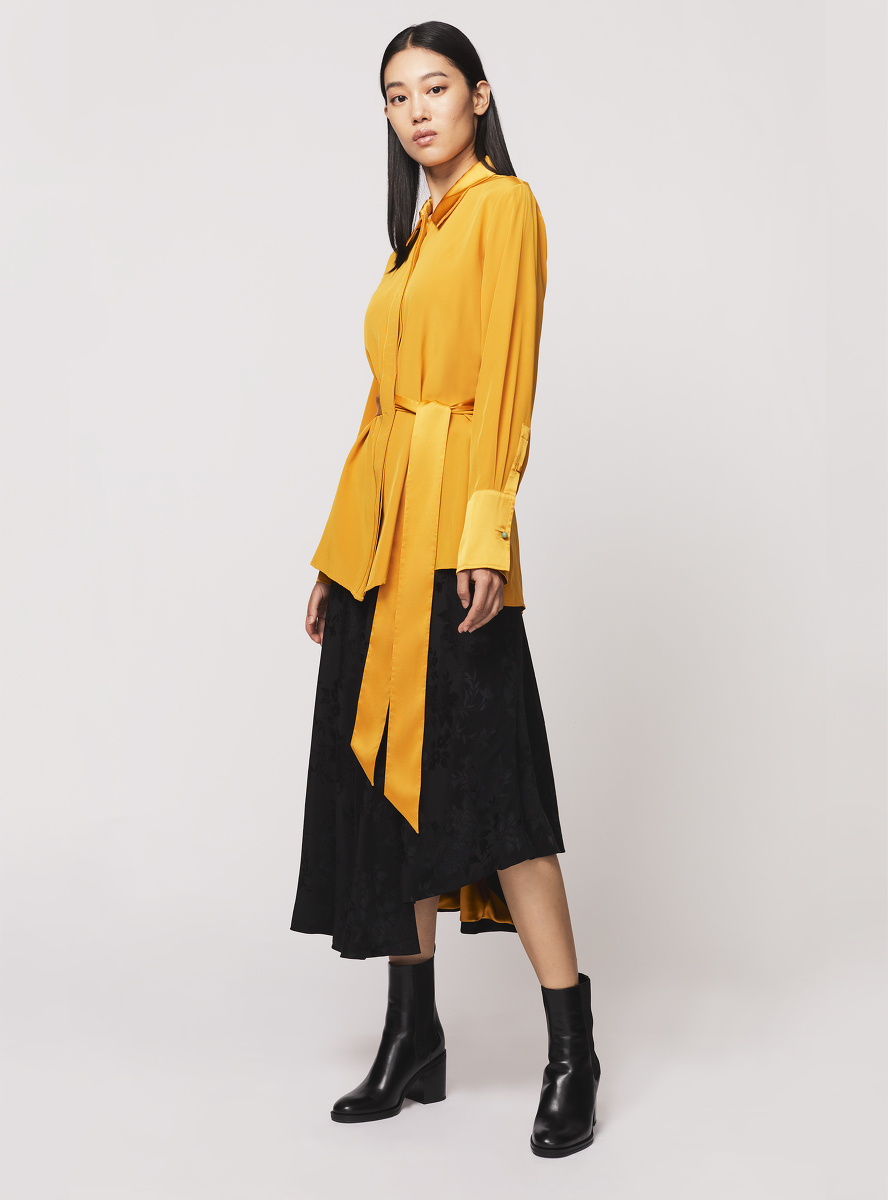 Silk Crepe Shirt with Sash Belt