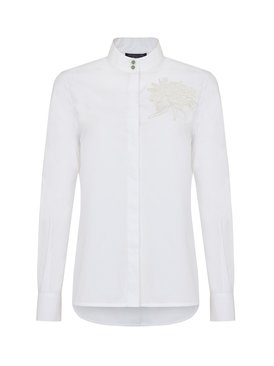 Chrysanthemum Sequin Embroidery Shirt