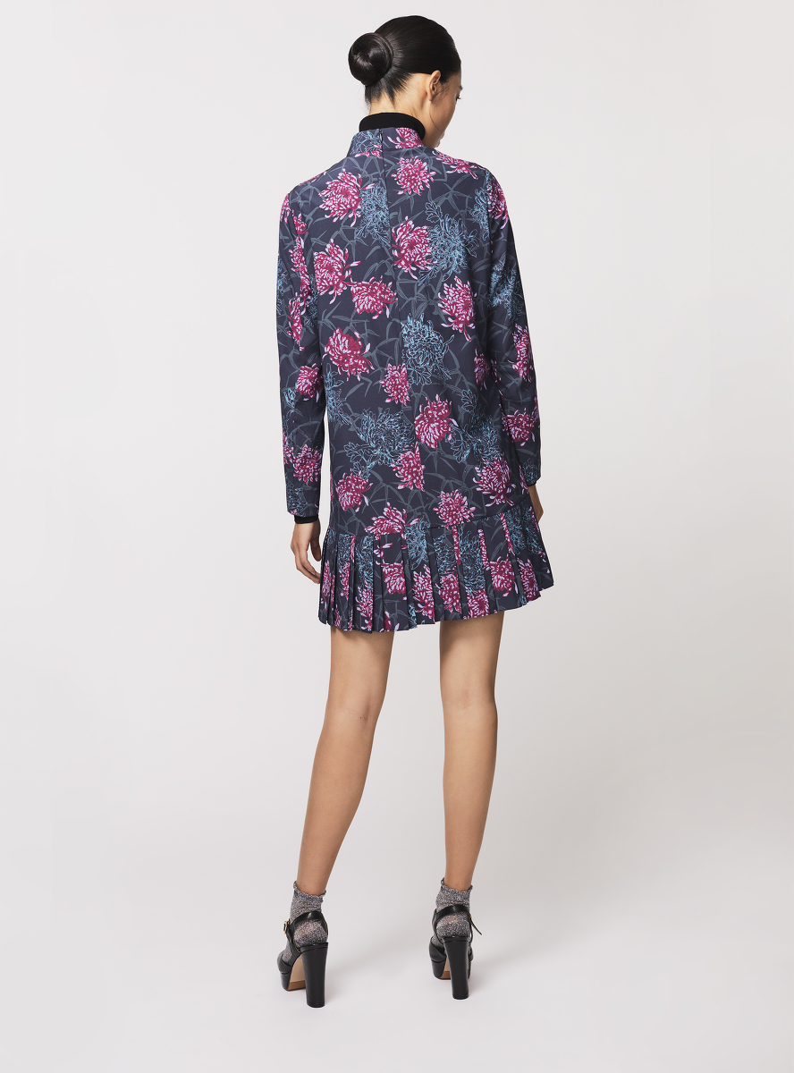 Chrysanthemum Print Pleated Hem Silk A-line Dress