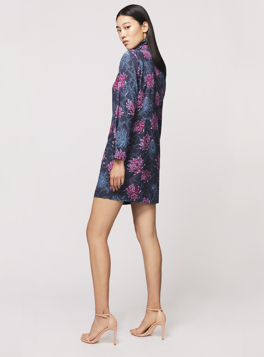 Chrysanthemum Print Silk Crepe Dress