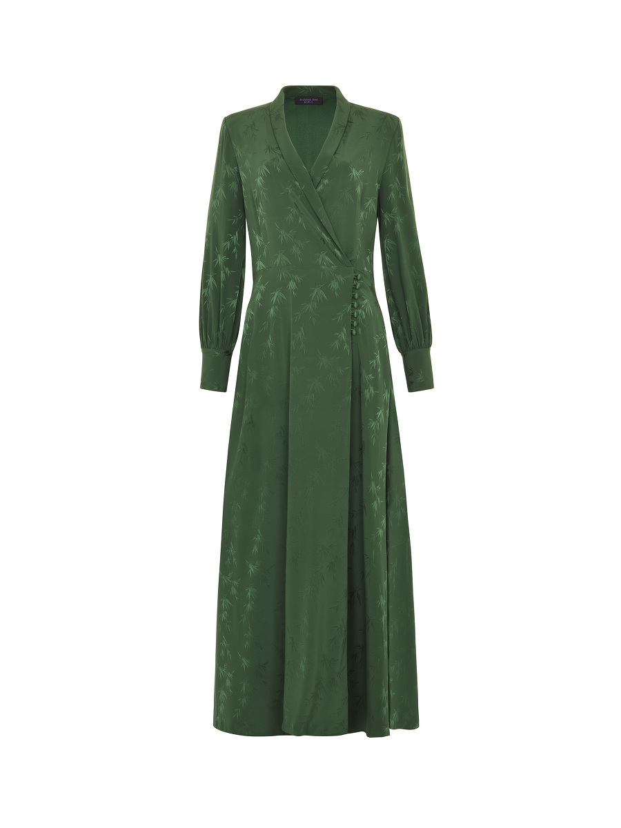 Bamboo Jacquard Stretch Silk Maxi Wrap Dress