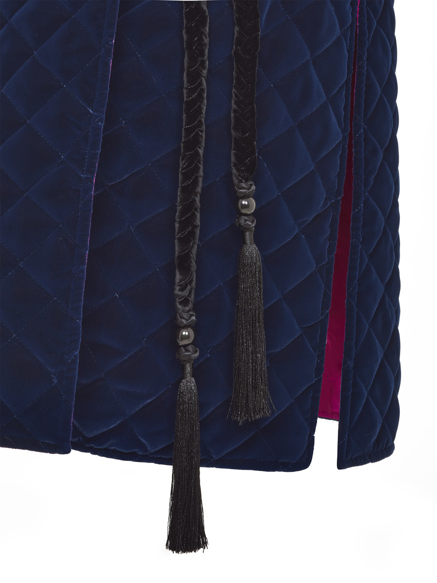 Quilted Velvet Vest with Braided Tassel Belt and Bamboo Silk Lining