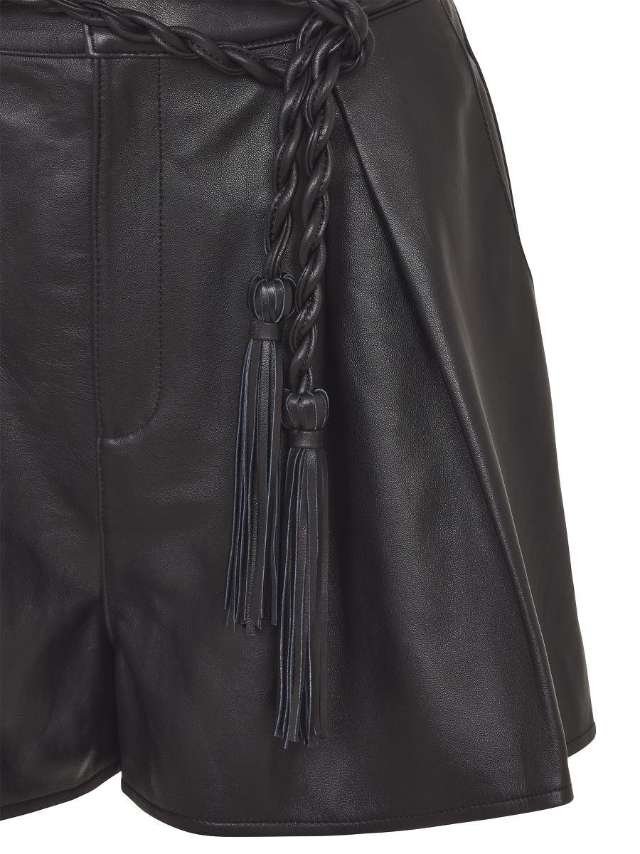 Leather Flared Shorts with Tassel Belt