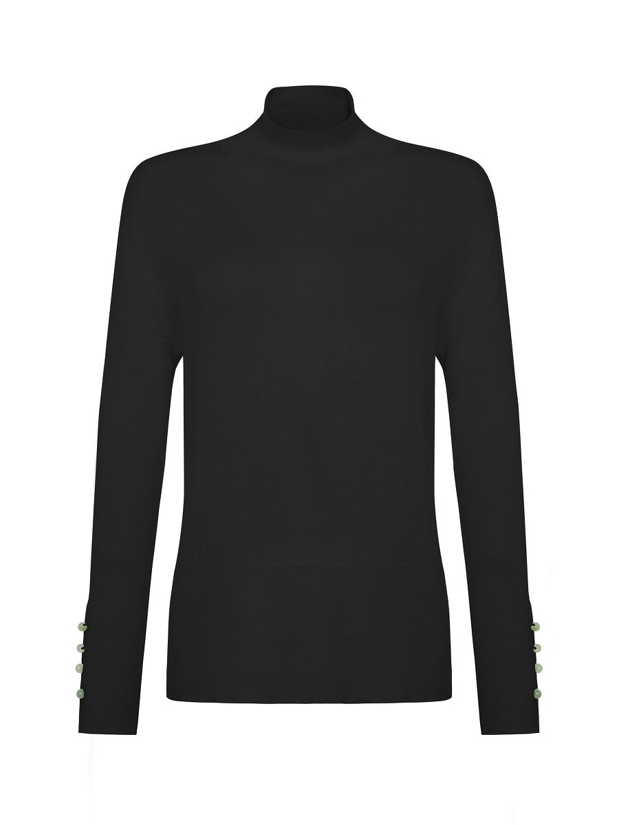 Jewel Button Turtleneck Wool Sweater