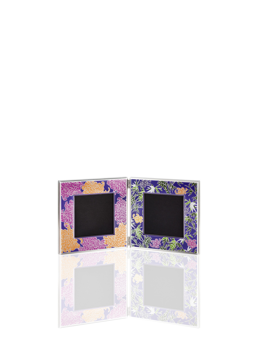 Chrysanthemum and Bamboo Square Double Photo Frame