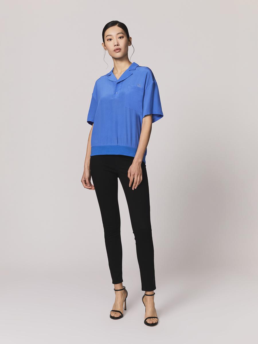 Relaxed Camp Collar Silk Crepe Polo Shirt