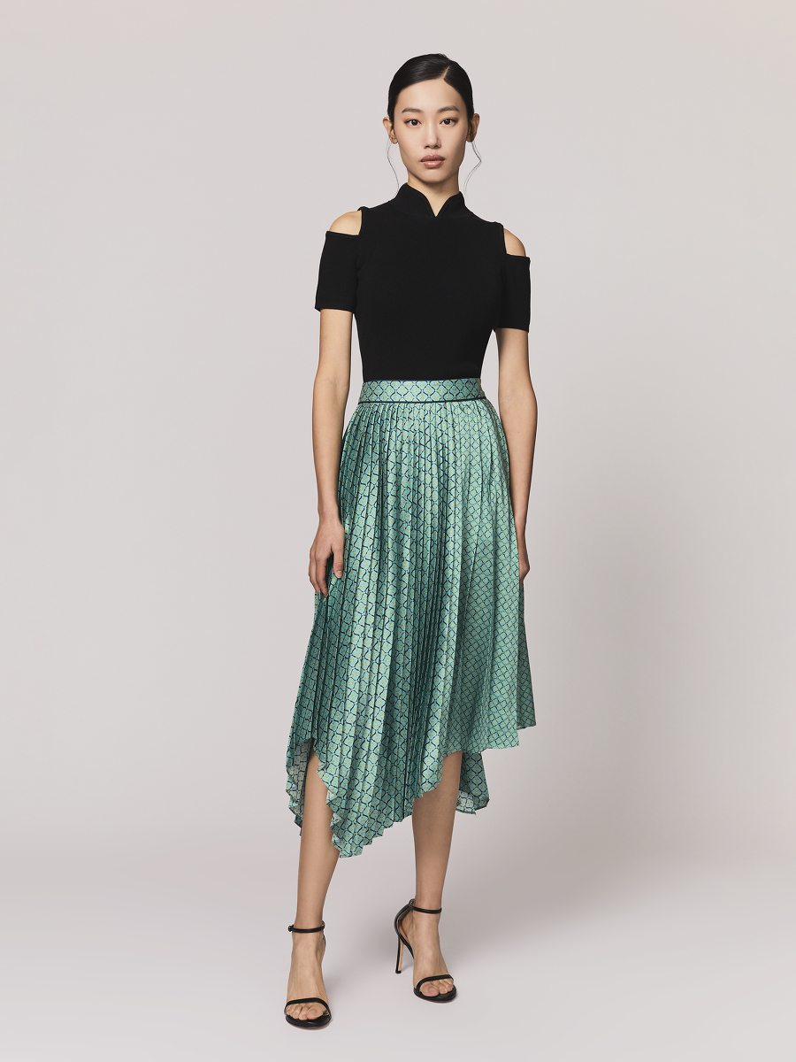 Geometric Sprout Print Pleated Skirt