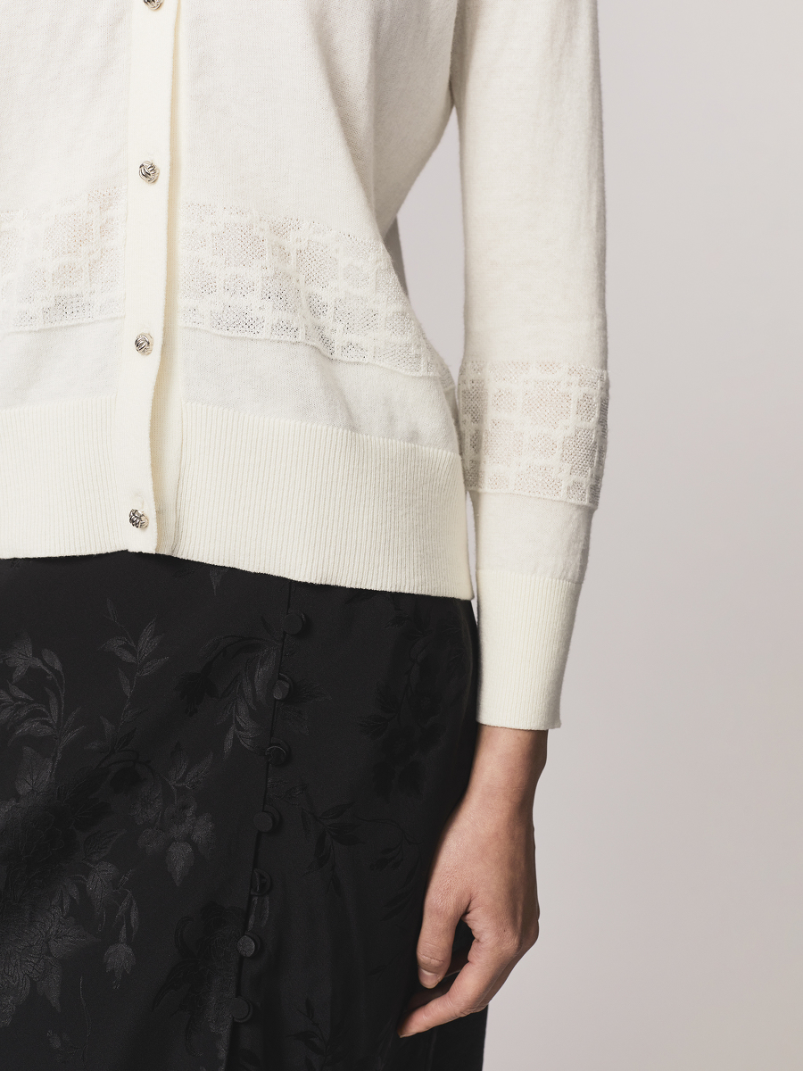 Window Jacquard Fitted Cotton Cashmere Cardigan