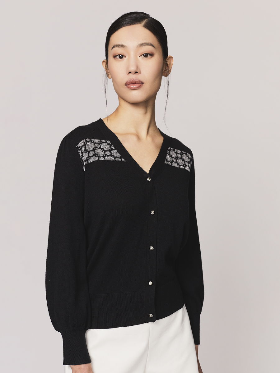 Window Jacquard Puff Sleeve Cotton Cashmere Cardigan
