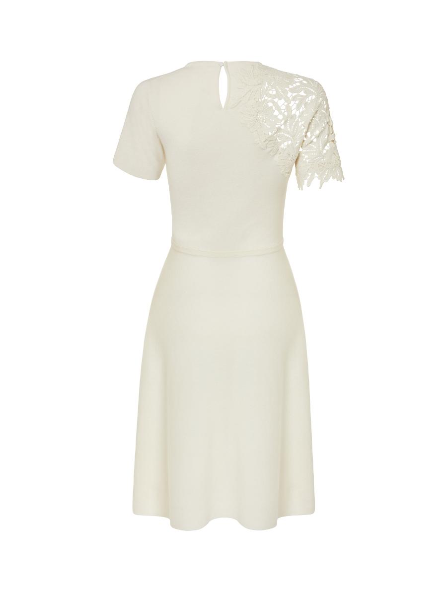 Cotton Cashmere Lace Panel Dress